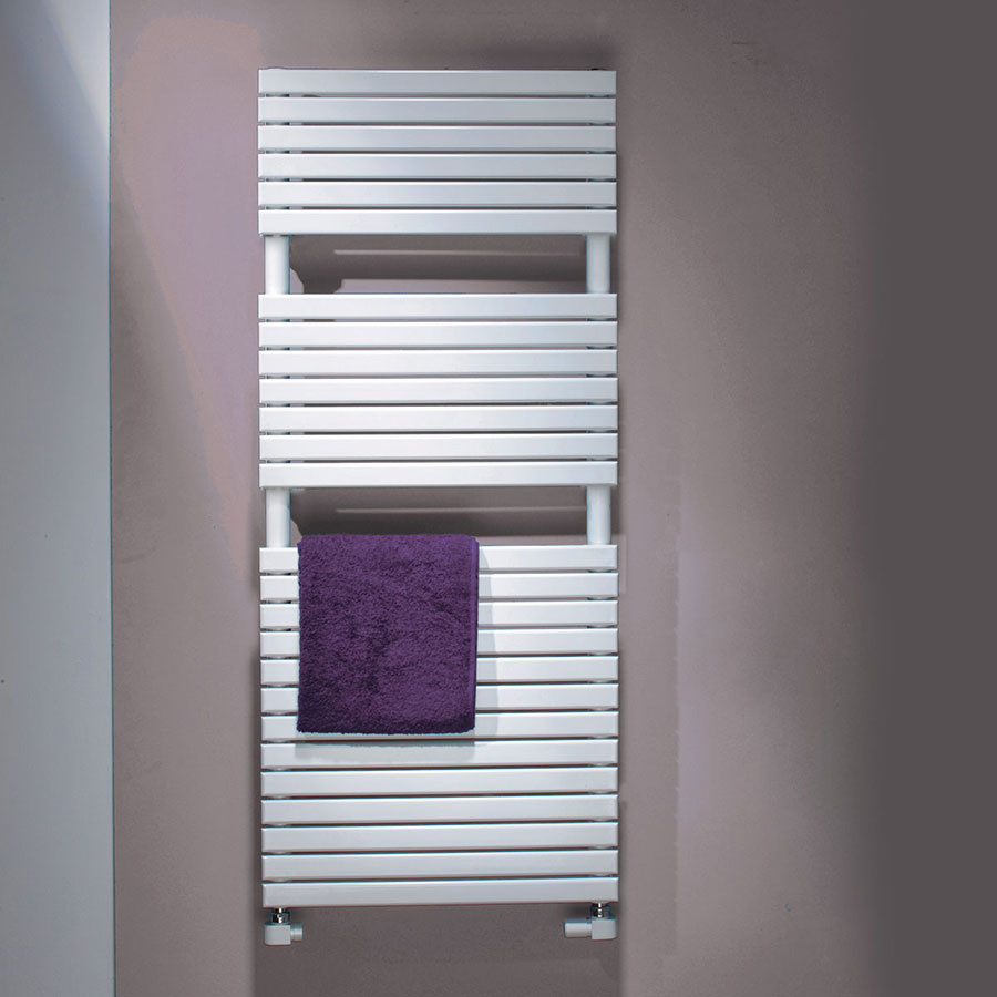 white wall mounted towel rail on a pastel wall