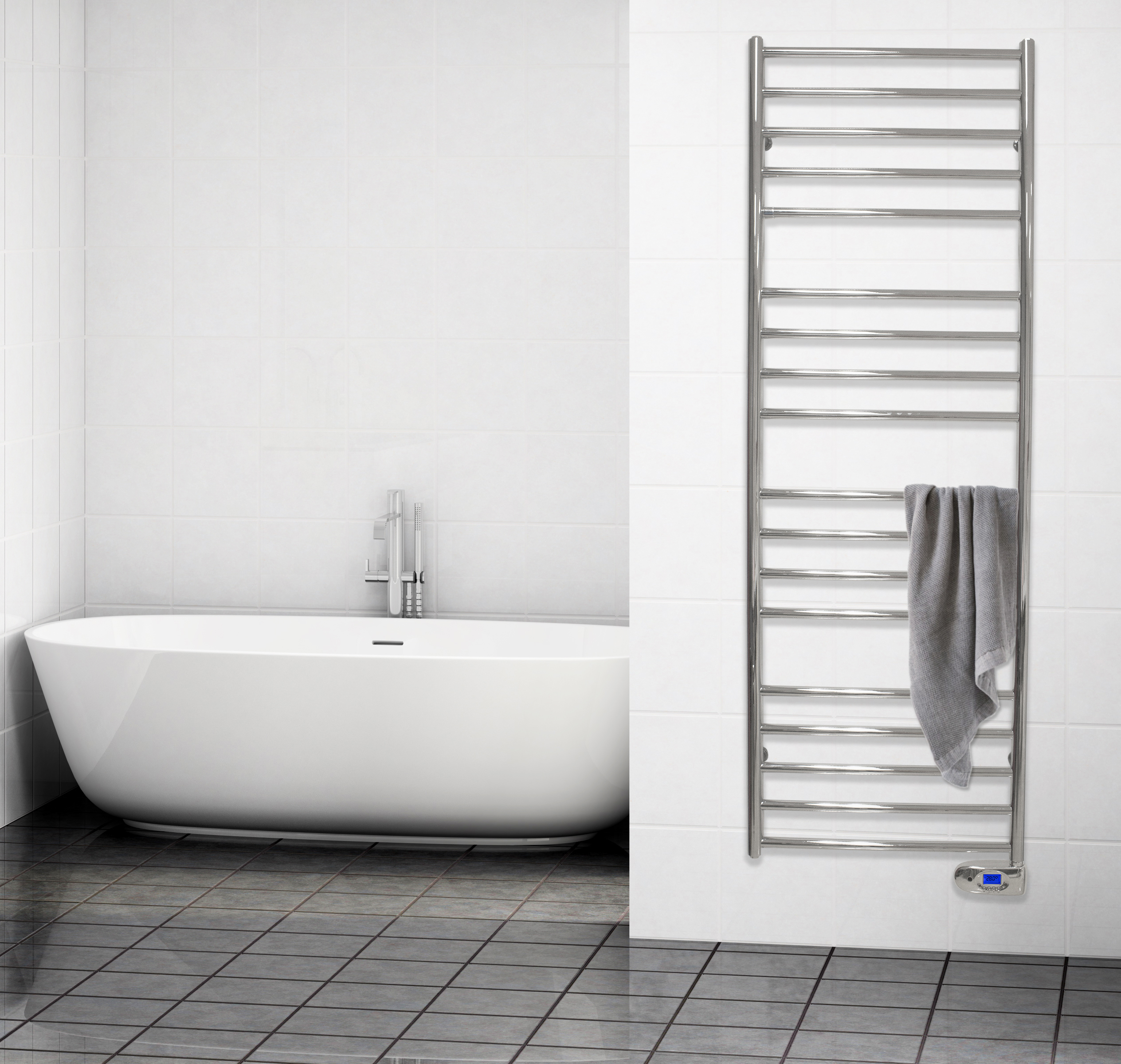 delonghi iconic electric towel rail mounted in a white bathroom with a gray towel